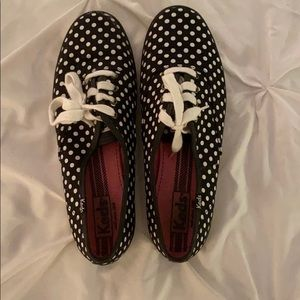 Keds black and white polka dot